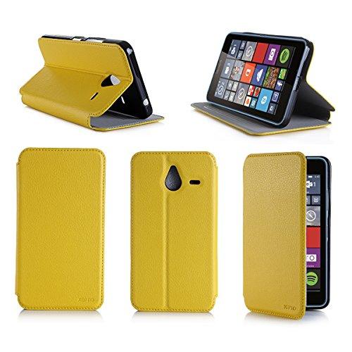 XEPTIO Giallo Custodia Pelle Ultra Slim per Microsoft Lumia 640 XL 4G smartphone - Flip Case Funda Cover protettiva Nokia 640 XL 4G/LTE 5.7 policci (Accessori PU Pelle - Yellow)