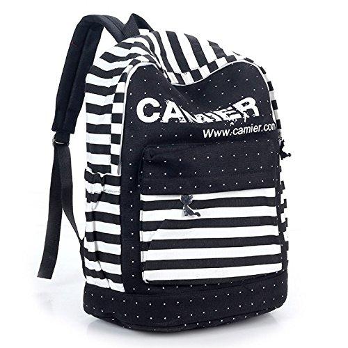 Minetom 2014 Neue Art Und Weise Frischen Streifen Leinwand Schultasche Rucksack Rucksack Kausalen 3 Farben schwarz
