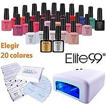 Elite99 Esmalte de Uñas de Gel Elegir Cualquier 20 Colores más Base Coat Top Coat con Secador de Uñas Lámpara UV LED, 10pcs de Removedores, 50 Sobres de Limpiador de Uñas, 900pcs de Toatillas de Algotón