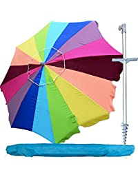 d0b387f713 Snail 8 ft Heavy Duty Large 16 Panel Jumbo Vented Tilting Rainbow Beach  Umbrella w Integrated Sand Anchor   Carry Bag