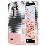 LG G4 Coque, ULAK G4 Coque Housse de Protection Anti-choc Matériaux Hybrides en Silicone Souple et PC dur Coque pour LG G4 (Or Rose Stripes)