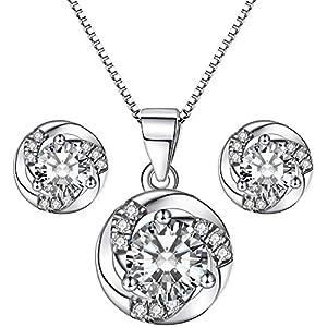 J.Endéar Schmuckset Silber 925 Damen Mädchen, Weihnachts geschenk, Ohrringe Kette Set mit Geschenkbox, funkelnde Zirkonia Inlay