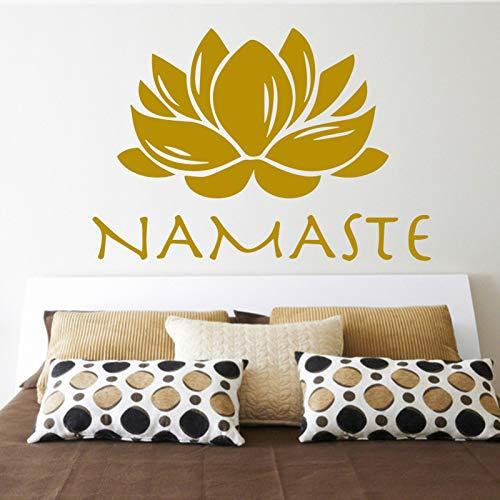Heißer Verkauf Buddhismus Indien Lotus Wandaufkleber Namaste Indien Removabl Kreative PVC Wandaufkleber für Zuhause Wohnzimmer Decorative-64x45cm