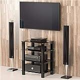 FITUEYES Glass HIFI Stand Media Component Shelf/Rack TV Cabinet AS406002GB