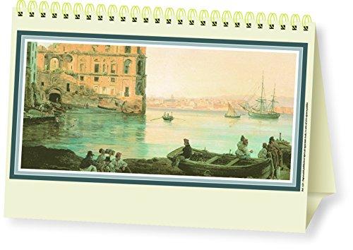 Calendario da tavolo triangolare Almanacco Italiano Gouaches 2017 spiralato 19x14 avorio