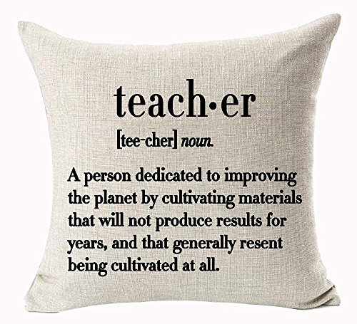 "Simple Black Big Teacher Meaning Explanation Words Letter A Person Dedicated To Improving The Planet By Cultivating Materials Cotton Linen Decorative Throw Pillow Case Cushion Cover Square 18 ""X18 \"""