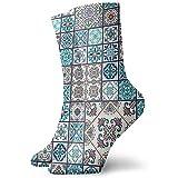 Vince Camu Bellissimo motivo a mosaico e piastrelle portoghesi Piastrelle Talavera Motivi marocchini in arancione blu Unisex Calze eleganti Calzini divertenti Calze casual da uomo 30CM