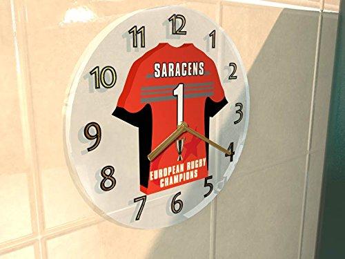 SARACENS RFC Rugby Club?Europäischen Rugby Champions Cup Winners 2016/17Gedenkmünzen Wanduhr?Marke neue Acryl Shirt Design. (Rugby-shirt Europäische)