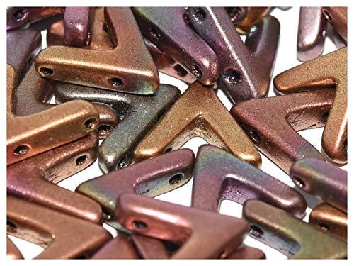 10pcs AVA Bead - Tschechische Gepresste Glasperlen V-förmig 10x4x3 mm, drei Löcher, Ancient Gold (Yellow-Gold Metallic/Iris) -