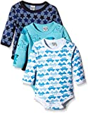 Care Baby - Jungen Langarm-Body im 3er Pack, All over print, Gr. 68, Blau (Dark Navy 778)