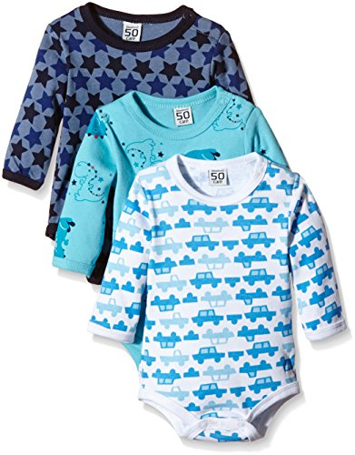 Care Baby - Jungen Langarm-Body im 3er Pack, All over print, Gr. 50, Blau (Dark Navy 778)