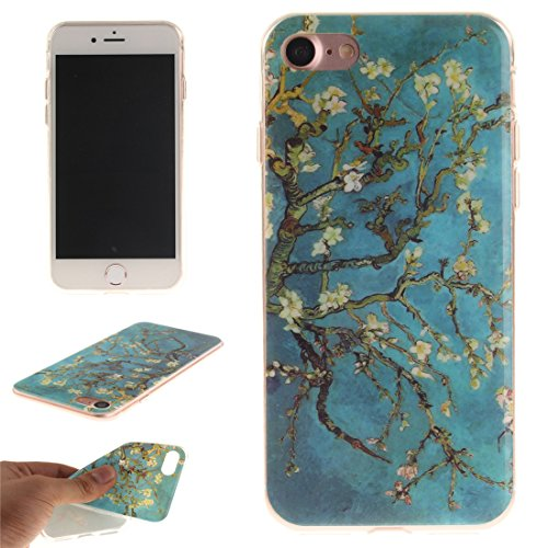 Nancen Apple iPhone 7 / 8 (4,7 Zoll) Hülle, Ultra Dünn Spezielle Weiche TPU Full Silikon Cover Case Handyhülle Schutzhülle Tasche [Grüne Augen Tiger] Plum Blume