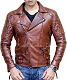 Mens Biker Motorcycle Copper Color Hand Waxed Cafe Racer Leather Jacket