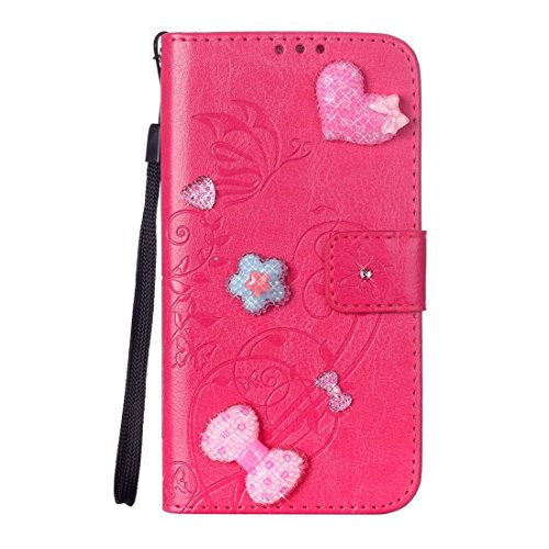 iPhone Case Cover Pour iPhone 7 Coeur Diamond Encrusted Fleurs Embossing Horizontal Flip Housse en cuir avec Holder & Card Slots & Portefeuille & Lanyard ( Color : Brown ) Magenta