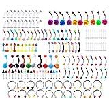 PiercingJ Multi Piercing Set 160x UV Silikon Edelstahl Mix Körperpiercing Stud Barbell Bananabell für Bauchnabel Augenbrauen Zunge Lippe Ohr Helix Nase Septum Ring Ringe Multizweck Bunt mit Etui