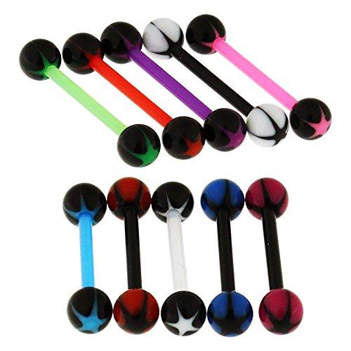10 Stück Pack Phantasie Sterne UV Ball mit 16MM Länge - 14 Gauge Bioplast Flexible Straight Barbell Zunge Bar Piercing