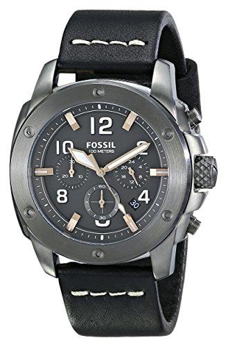 Fossil FS5016 – Reloj para hombres, correa de cuero color negro