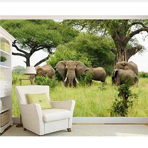 3D Room Wallpaper Mural personalizado Imagen no tejida 3D Hd sabana Elefantes...