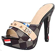 AIYOUMEI Damen Lack Pantoffeln mit Schleife und Strass Sandalen Peep Toe Slippers High Heels Mules  37 EUSchwarz