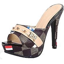 AIYOUMEI Damen Lack Pantoletten mit Schleife und Strass Peep Toe Sandalen Slipper High Heels Mules  35 EUSchwarz