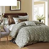 300tc pastoral style + pure cotton + pflanze blumen + vier-stück-set(1quilt cover +1bett don +2kissenbezug)-A Queen1