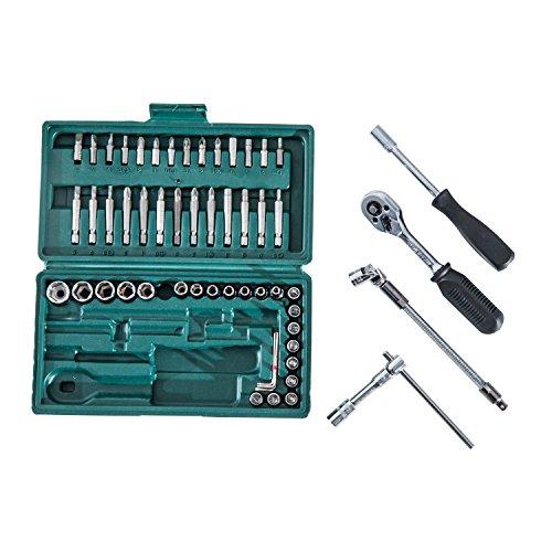 Homcom 59/94/108-tlg. Werkzeug Set Satz Steckschlüssel Kasten Kfz Werkzeugkoffer Knarrenkasten (Modell 1) - 4