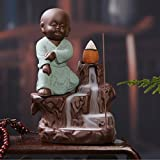 #7: eCraftIndia Karate Style Monk Buddha Smoke Backflow Cone Incense Holder Decorative Showpiece with 10 free Smoke Backflow Scented Cone Incenses