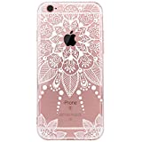 Coque iPhone 6, Coque iPhone 6S, JIAXIUFEN TPU Coque pour Apple iPhone 6 6S Silicone Étui Housse Protecteur - White Floral Flower Tribal Mandala