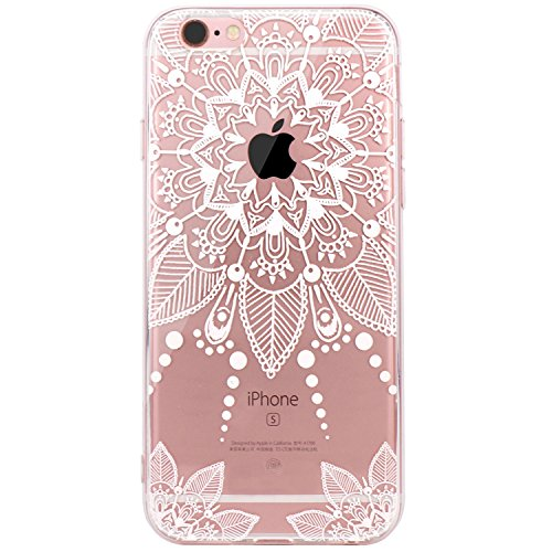 JIAXIUFEN iPhone 6 Hülle, iPhone 6S Hülle, TPU Silikon Schutz Handy Hülle Handytasche HandyHülle Schutzhülle Case Cover für Apple iPhone 6 6S - White Floral Flower Tribal Mandala -