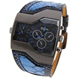 Conbays Oulm Military Army Cool 2 Dial Time Zones Leather Sports Boys Mens Wrist Watch Blue Q0784