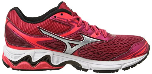 Mizuno Wave Inspire 13 (W), Chaussures de Running Entrainement Femme, Red Rouge (Persian Red/silver/black)