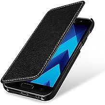 StilGut Book Type Case, Funda de cuero. Flip Case de piel auténtica para su Samsung Galaxy A5 (2017), Negro