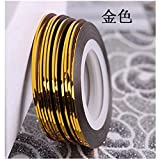 RICISUNG Zierstreifen Striping Tape Streifen Nail Art Stripes Stripe Sticker 10pcs Gold