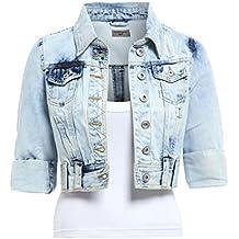 945360532816 SS7 - Blouson - Veste en jean - Femme Bleu Bleu denim clair 34