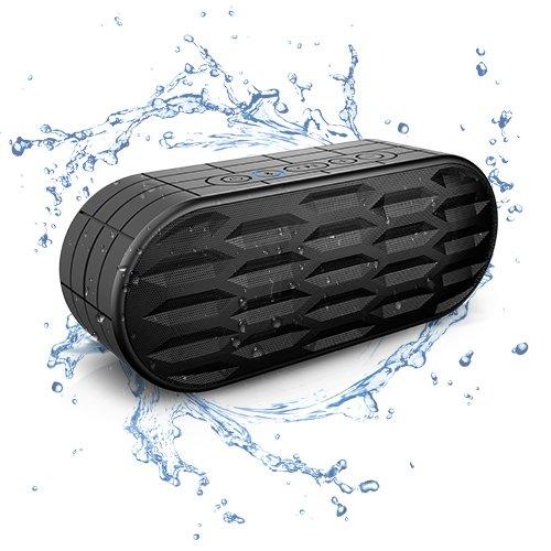 ITgut 10W Wasserdicht IPX5 Tragbare Wireless Bluetooth Lautsprecher, Outdoor Sport und Dutsche mit Eingebaute Mikrofon: Spritzwassergeschützte, ideal für Freizeit, Sport und Zuhause (Schwarz) - Wasser Bluetooth Lautsprecher Wireless