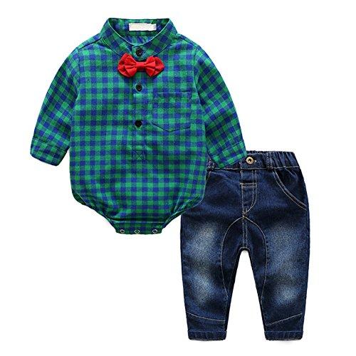 Runyue 2pcs bambino ragazzo bowknot cravatta t-shirt camicia scozzese cime tutine + pantaloni salopette set verde 70cm