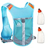 Geila Outdoors Sport Marathoner Race Pack de hidratación Mochila de hidratación con 2 botellas de agua para Trailrunning, Marathon (azul)