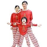 BOZEVON Set per Pigiama per la Famiglia - Maniche Lunghe T-Shirt con Stampa Albero di Natale + Pantaloni Lunghi per Bambini e Adulti (Mamma, Tag XL)