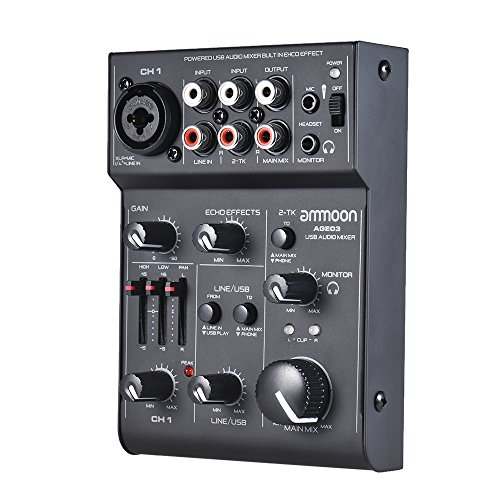 ammoon Mixing Console 5-Channel Mini Mic-Line Mixing Console Mixer with USB Audio Interface Built-in Echo Effect USB Powered for Recording DJ Network Live Broadcast Karaoke