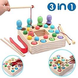 Symiu Giochi Montessori Magnetica Pesca Giocattoli Puzzle in Legno mit 10 Pesci, 10 Perle di Legno,