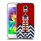 Head Case Designs Leuchtturm Nautisches Chevronmuster Soft Gel Hülle für Samsung Galaxy S5 Mini