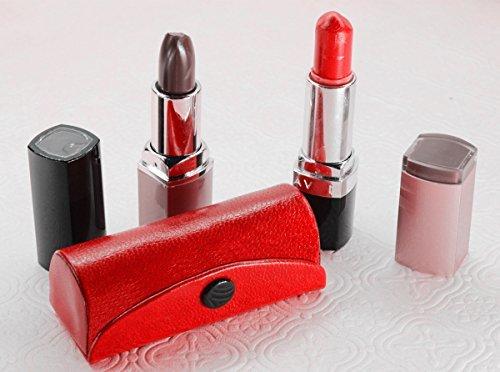 Custodia porta rossetto in pelle,borsetta di colore rosso, per tenere in ordine i tuoi rossetti, realizzata in durevole e morbida pelle,adatta per cosmetici e dotata di specchietto