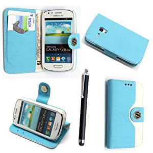SAMSUNG GALAXY S3 S III MINI I8190 PU LEATHER MAGNETIC FLIP CASE SKIN COVER POUCH + GUARD +STYLUS (SKY BLUE AND WHITE BOOK)