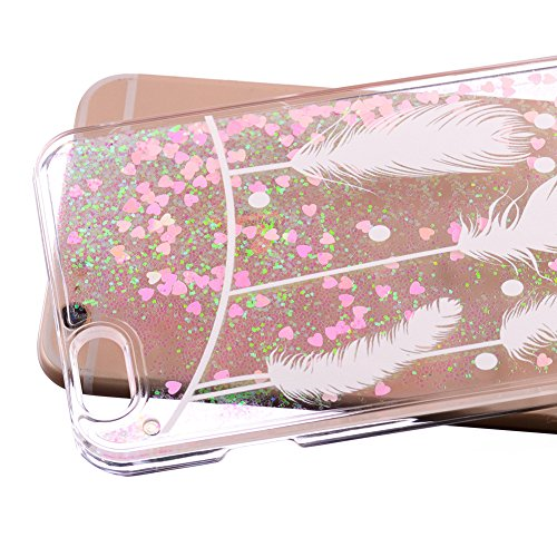 """Für iPhone 6/6S 4.7"""" Hülle,Für iPhone 6/6S 4.7"""" Flüssigkeit Handyhülle,Funyye Luxus Luxuriös [Bunten Muster] Liebe Herzen Star Fließt Treibsand Durchsichtige Handytasche Glänzend Glitzer Diamond Diama Weiß Gefieder"""