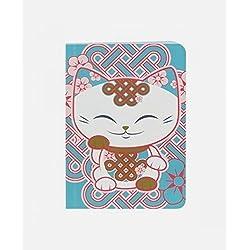 Cuaderno gato puerta felicidad Mani The Lucky Cat blanco azul rosa ladrillos