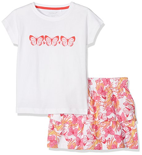 NAME IT Mädchen Bekleidungsset Nmfvegas Capsl Set G, Mehrfarbig (Bright White Detail: Bright White Skirt AOP Butterflies), 116