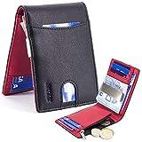 Rush Portefeuille pour Homme | Bloc RFID/NFC Protection Contacless | Clip/Pince à Billets en Acier et Porte-Monnaie Pocket avec Zip | Quick Slot - 9 Cartes | Version Euro (Noir & Rouge)