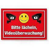 Bitte lächeln Videoüberwachung Kunststoff Schild lustig - Achtung/Vorsicht Videoüberwachung - Hinweis/Hinweisschild Videoüberwacht - Warnhinweis