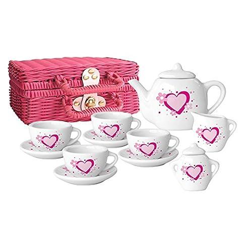 Rose et blanc Sweet Heart Ensemble à thé en porcelaine