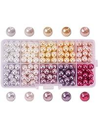 PandaHall Elite - Lot de 230pcs 10 Couleurs Perle en Verre Perle Rond Perles Lisses en Satin Minuscules pour DIY Fabrication de Bijoux Collier Bracelet, 8mm, Trou: 0.7mm